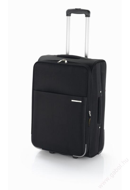 Flat kabin méretű bőrönd fekete színben